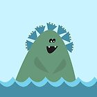 Cecil C. Monsta (Cute Sea Monster in blue and green against a sky blue background)  by kierkegaard