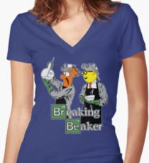 Breaking Beaker Women's Fitted V-Neck T-Shirt