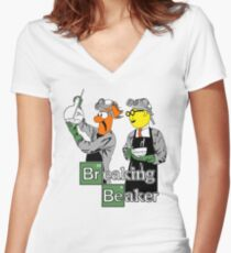 Breaking Beaker Women's Fitted V-Neck T-Shirt