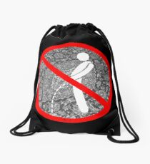 do not pee on the Dude's rug Drawstring Bag