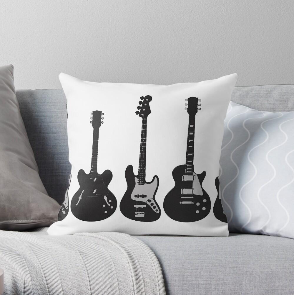 Guitar Throw Pillow By Metalcharisma Redbubble
