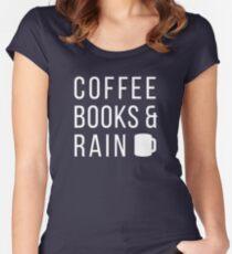 Livres de café et pluie T-shirt échancré