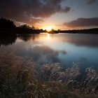 sunset, pitfour loch by codaimages
