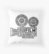 Film Camera Typography - Black Throw Pillow