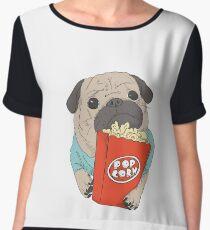 Pug with popcorn Chiffon Top
