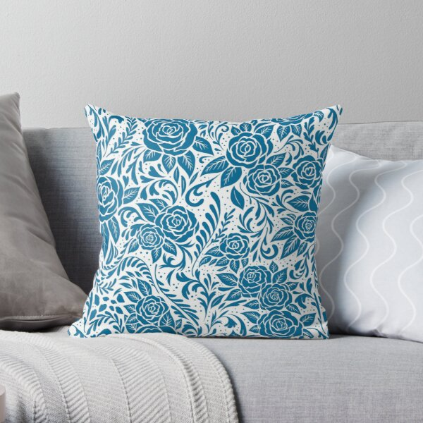 Floral Tile Pattern - Blue 2 Throw Pillow