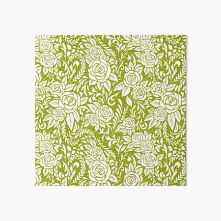 Floral Tile Pattern - Light Green 1 Art Board Print