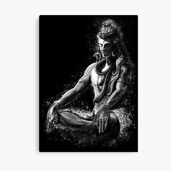 Majestuoso señor Shiva en la meditación eterna - Blanco y negro Lienzo