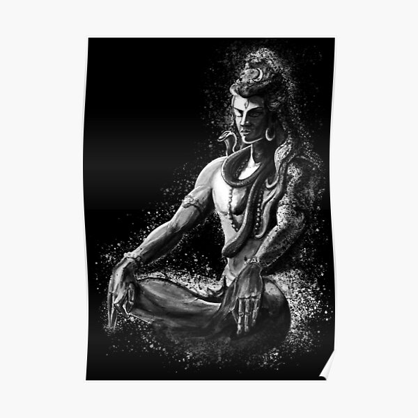 Majestic lord Shiva in Eternal meditation - Black and white  Poster