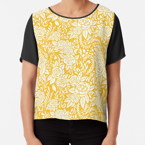 Floral Tile Pattern - Gold 1 Chiffon Top