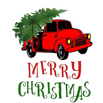 Truck with Christmas Tree - Merry Christmas by oceanwaves