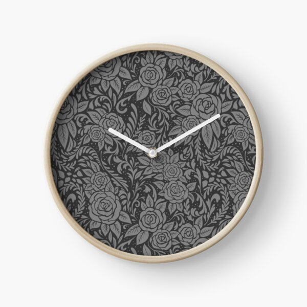 Floral Tile Pattern - Grey 1 Clock