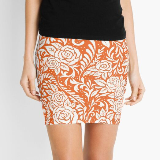 Floral Tile Pattern - Orange 1 Mini Skirt