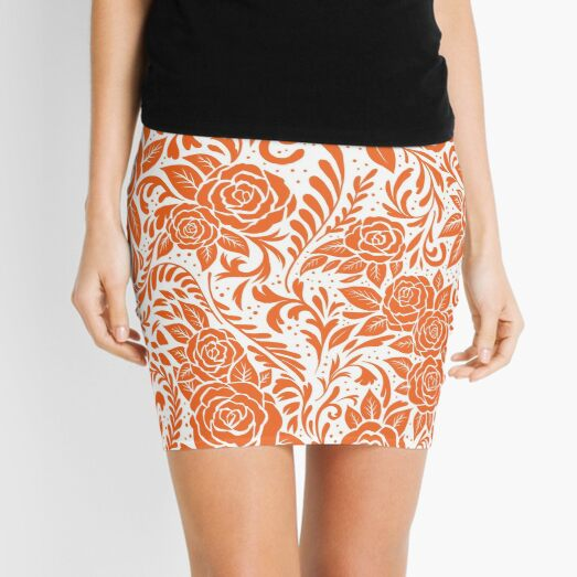 Floral Tile Pattern - Orange 2 Mini Skirt