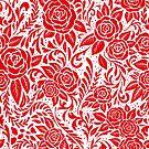 Floral Tiled Pattern - Red 1 by RainbowFoxy