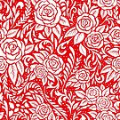 Floral Tile Pattern - Red 2 by RainbowFoxy