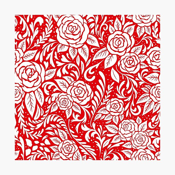 Floral Tile Pattern - Red 2 Photographic Print