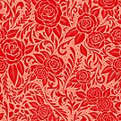 Floral Tile Pattern - Red 4 by RainbowFoxy