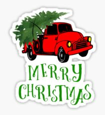 Truck with Christmas Tree - Merry Christmas Sticker