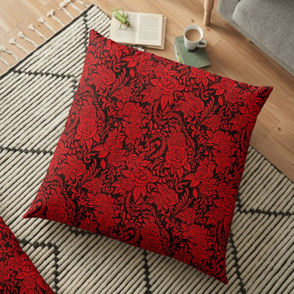 Floral Tile Pattern - Red and Black Floor Pillow
