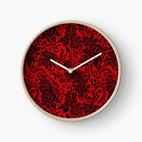 Floral Tile Pattern - Red and Black 2 Clock