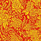 Floral Tile Pattern - Red and Gold by RainbowFoxy
