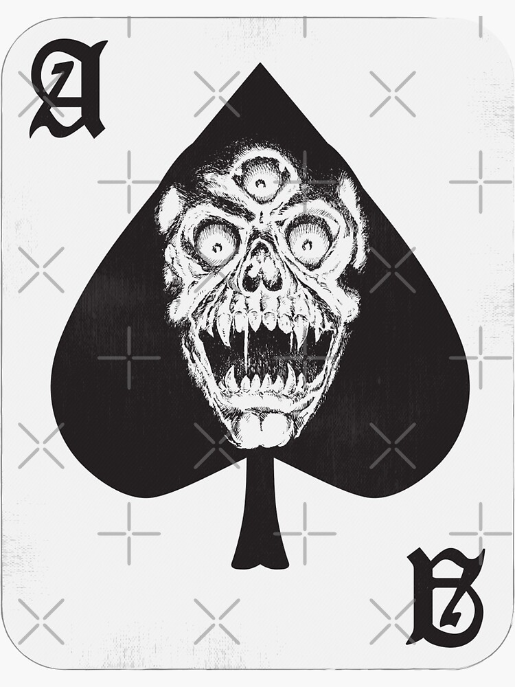 Ace of Spades Skateboard Sticker Horror Art by thebroodingmuse