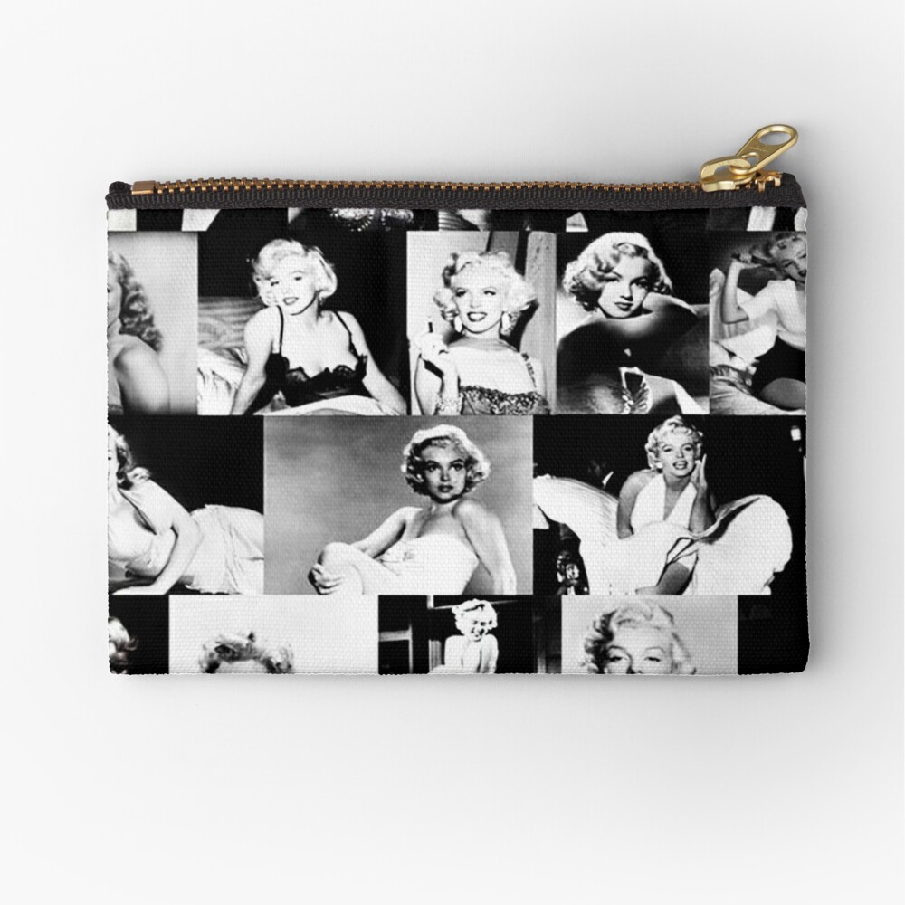 Black and White Marilyn Monroe Collage Vintage Zipper Pouch