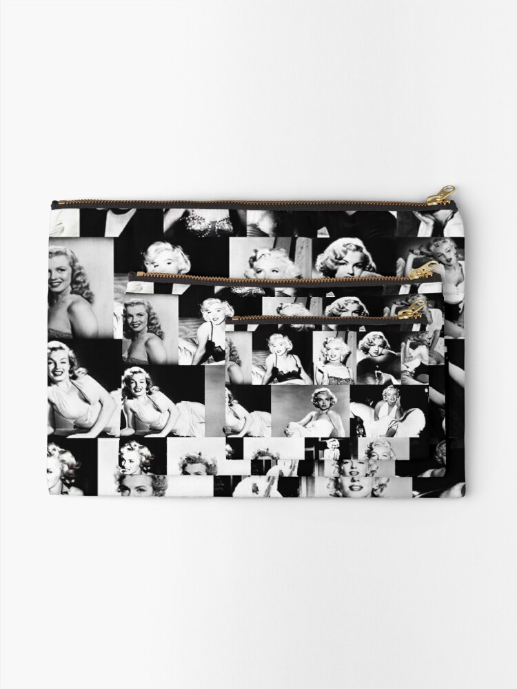 Alternate view of Black and White Marilyn Monroe Collage Vintage Zipper Pouch