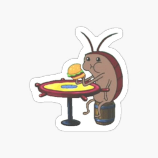 Spongebob Cockroach Eating a Krabby Patty - Small Sticker