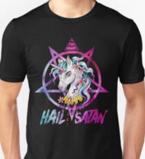 Unicorn Hail Satan Death Metal Rainbow shirt Rave Men Women Slim Fit T-Shirt