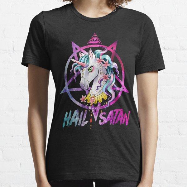 Unicorn Hail Satan Death Metal Rainbow shirt Rave Men Women Essential T-Shirt