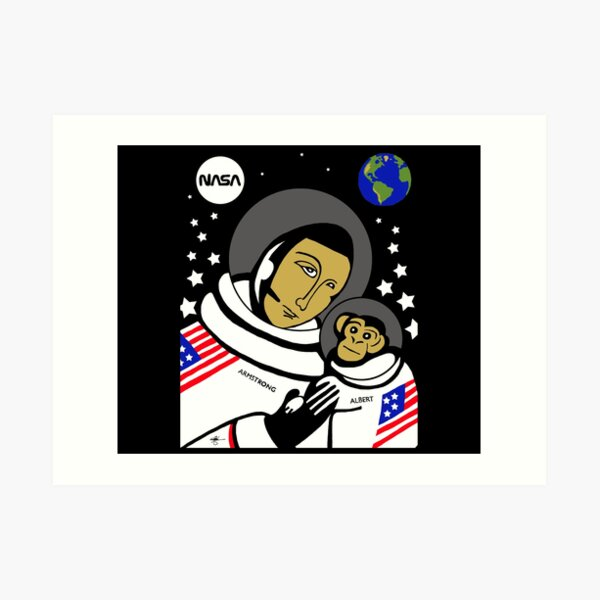Modern Icon Neil Armstrong with Albert Art Print
