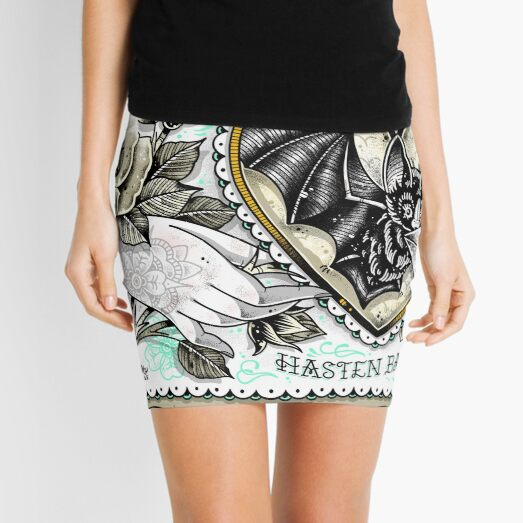 Hasten Back Vintage Style Romance Hand with Bat and Moon Lover Cute Traditional Tattoo Flash Mini Skirt