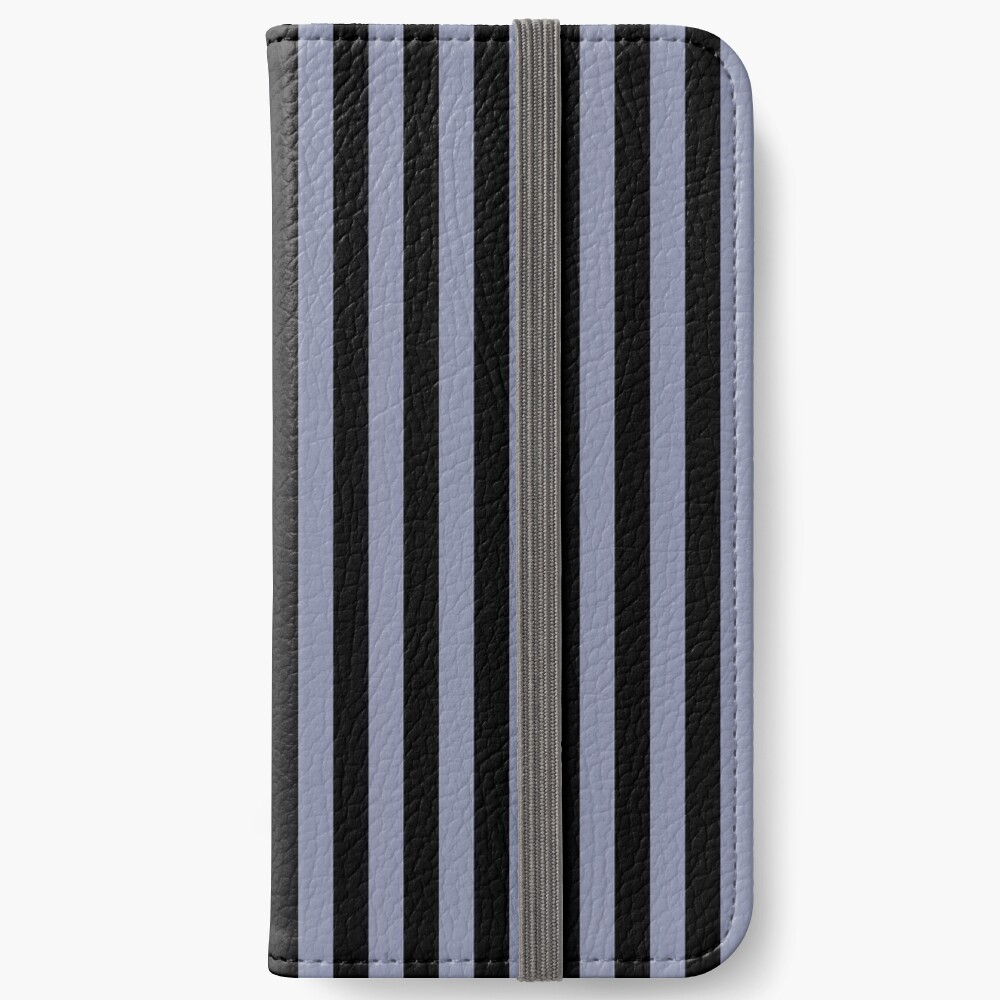 Cool Gray and Black Vertical Stripes iPhone Wallet