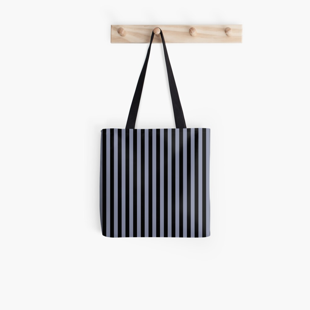Cool Gray and Black Vertical Stripes Tote Bag