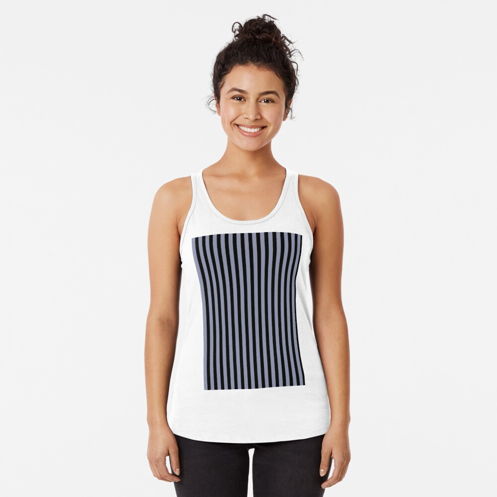 Cool Gray and Black Vertical Stripes Racerback Tank Top