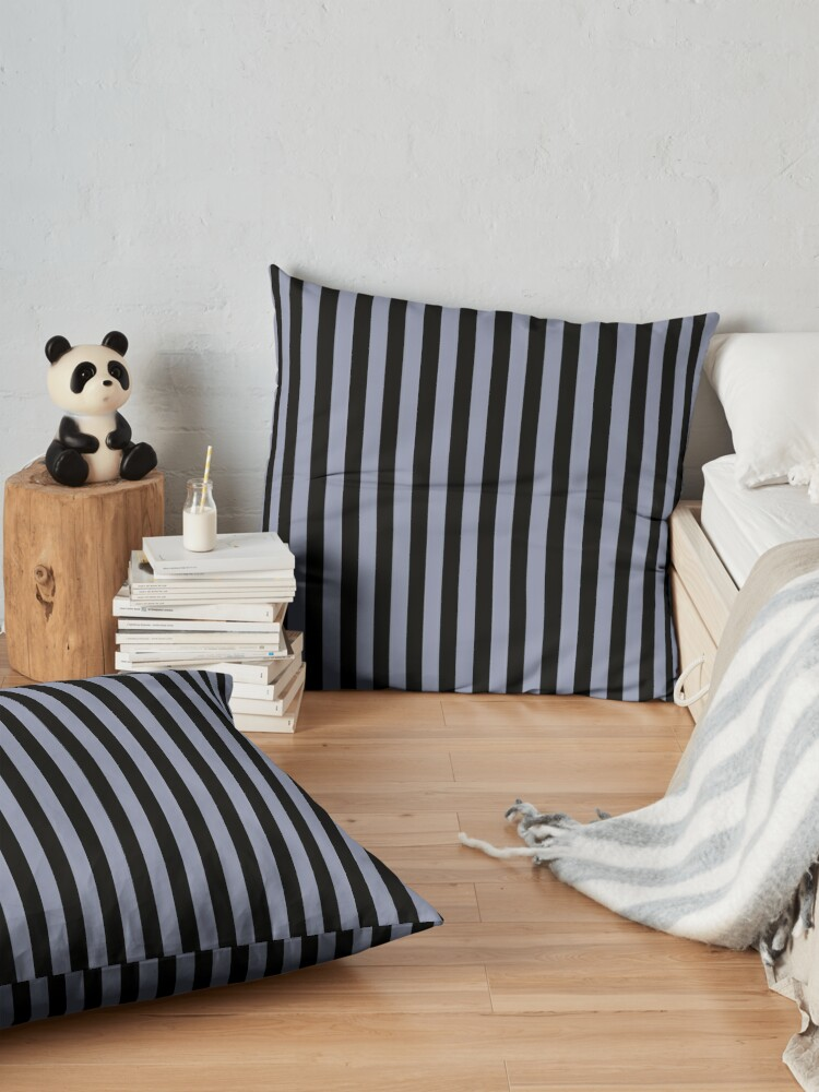 Alternate view of Cool Gray and Black Vertical Stripes Floor Pillow