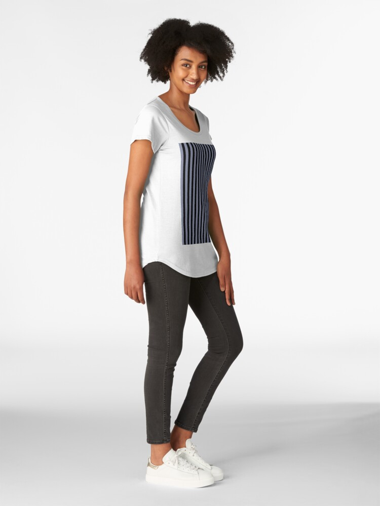 Alternate view of Cool Gray and Black Vertical Stripes Premium Scoop T-Shirt