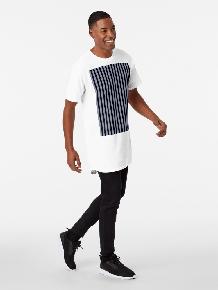 Alternate view of Cool Gray and Black Vertical Stripes Long T-Shirt