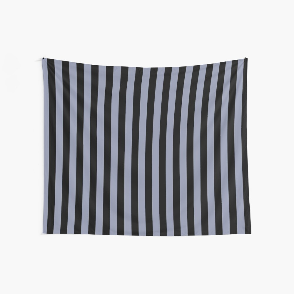 Cool Gray and Black Vertical Stripes Wall Tapestry
