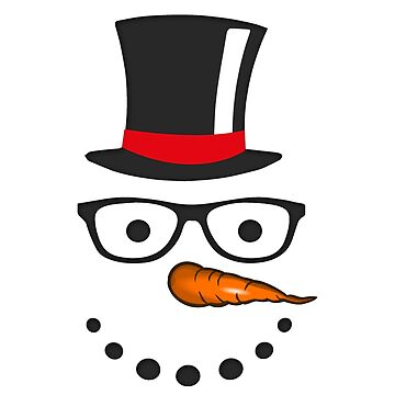 Funny snowman face with hat gift Christmas T-shirt by MrTStyle
