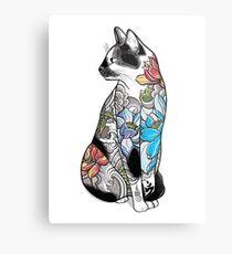 Cat in Lotus Tattoo Metal Print