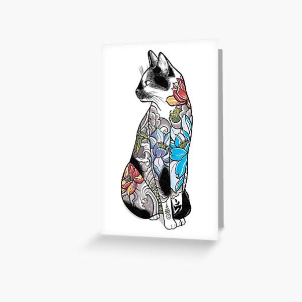 Cat in Lotus Tattoo Greeting Card