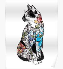 Cat in Lotus Tattoo Poster