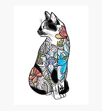 Cat in Lotus Tattoo Photographic Print