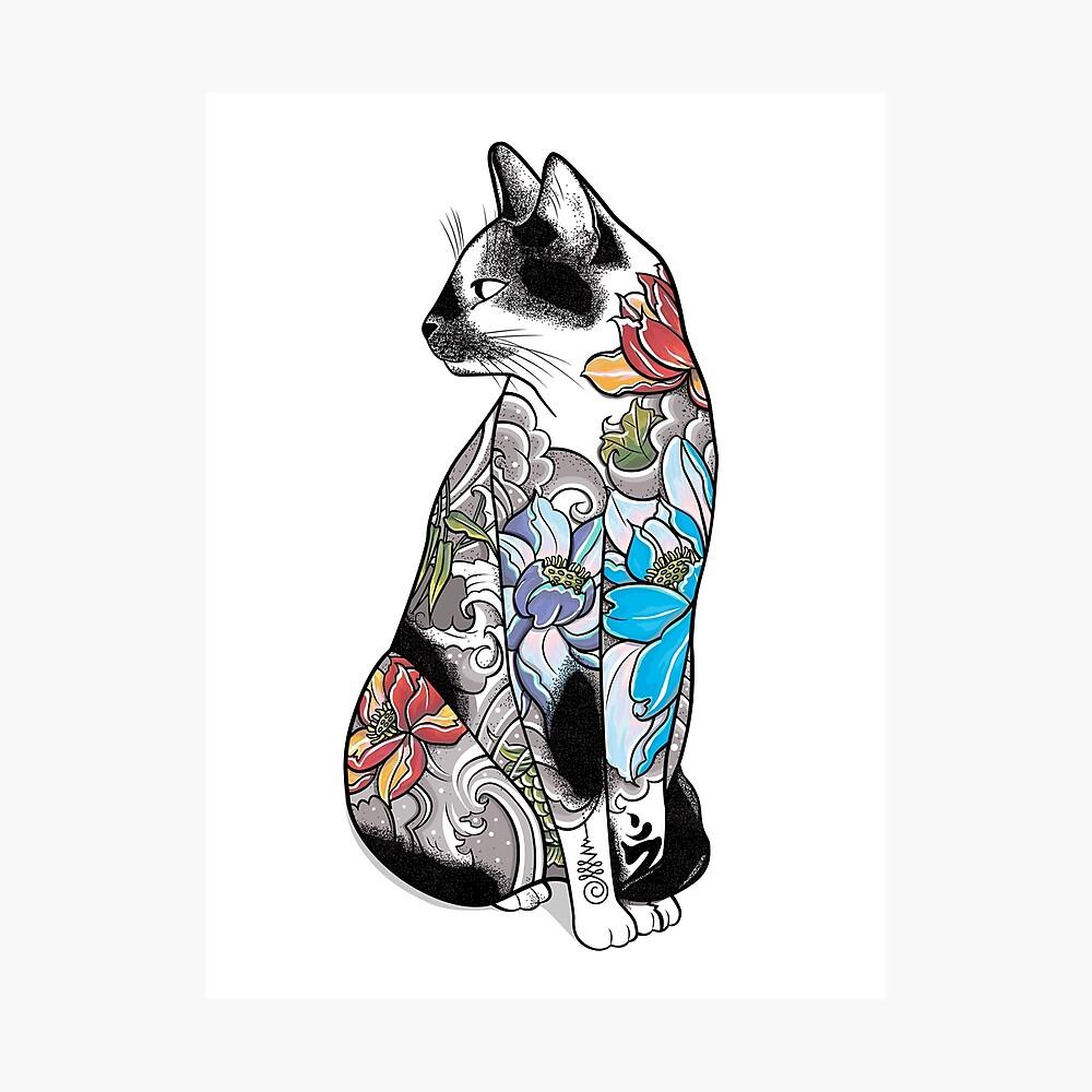 Katze in Lotus Tattoo Fotodruck