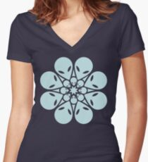 Alien / flower mandala Women's Fitted V-Neck T-Shirt