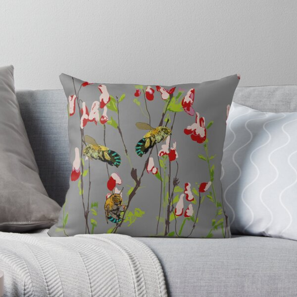 The Blue Banded Bee (Amegilla cingulata) on grey Throw Pillow