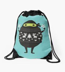 Ninjacado in Holiday Sweater Drawstring Bag